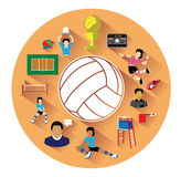 Modern flat volleyball icons set with long shadow effect Royalty Free Stock Image