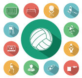 Modern flat volleyball icons set with long shadow effect Royalty Free Stock Images