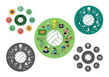Modern flat volleyball icons set Stock Photo