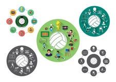 Modern flat volleyball icons set Stock Photo