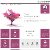 Modern Flat Website template with beautiful flowering purple tree painting. Royalty Free Stock Photography