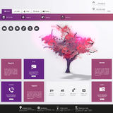 Modern Flat Website template with beautiful flowering purple tree painting. Stock Images