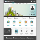 Modern Flat Website template design with Eco landsacpe illustration. Stock Photography