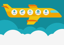 Modern flat website template with yellow plane, responsive vector design stock illustration
