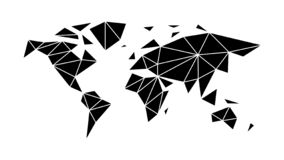Modern, flat world map in the style of triangulation stock illustration