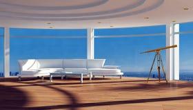 Modern flatbinnenland met mooie mening Stock Fotografie