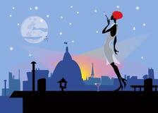 Modern flicka på ett tak med en cigarett Royaltyfri Fotografi