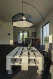Modern floor lamp which transform simple interior Stock Photos
