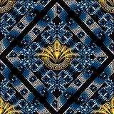 Modern floral greek key meander vector seamless pattern. vector illustration