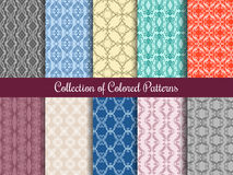 Modern floral pattern set in vintage style. Seamless patterns collection with calligraphic swirls. Collection of colored patterns illustration Stock Images