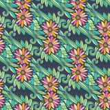 Modern floral seamless pattern with flowers and leaves. Creative textile fabric swatch or packaging design.  Royalty Free Stock Photos