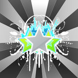 Modern floral splatter urban celebration. Vector illustration of a modern three star urban splatter celebration background with floral elements Stock Photo