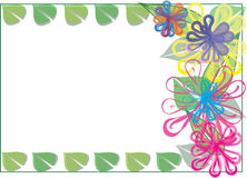 Modern flower frame. Colorful modern flower frame with leafs Stock Photo