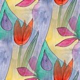 Modern flowers, drops seamless  watercolor artist wallpaper text Stock Photo