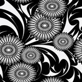 Modern flowers vector seamless pattern. Black and white floral b. Ackground wallpaper with abstract flowers, leaves and hand drawn vintage ornaments. Isolated vector illustration