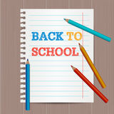 Modern flyer, poster template with Back To School hand drawn text. Notebook paper. Colorful Colored Pencils Stock Images