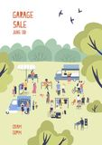 Modern flyer or poster template for garage sale or outdoor festival with food trucks, walking people, men and women. Buying and selling goods at park. Flat royalty free illustration