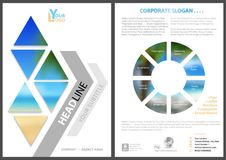 Modern Flyer Template with Geometric Elements. And Blurred Tropical Pattern - Abstract Colored Illustration on White Background, Vector Stock Photography