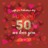Modern flyer with text happy valentine`s day. Stock Photography