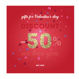 Modern flyer with text happy valentine`s day. Royalty Free Stock Photo