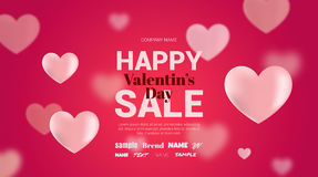 Modern flyer with text happy valentine's day. The flyer can be used in mailings, magazine promotions. There is a place text Vector Illustration