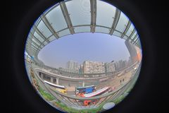 a modern flyover link of west kowloon staion stock image