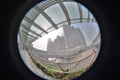 a modern flyover link of west kowloon staion stock photography