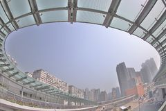 a modern flyover link of west kowloon staion stock images