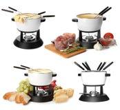 Modern fondue set on white background. Kitchen. Equipment stock photo