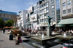 Modern fontain statues. Modern statues in the square old market in Dortmund stock photo