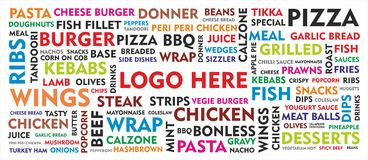 Modern Food Menu Wallpaper. A Creative food colourful word wallpaper Royalty Free Stock Image
