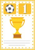 Modern footbal certificate with place for your content, for kids first place.  Stock Image