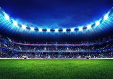 Modern football stadium with fans in the stands Stock Photography
