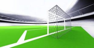 Modern football stadium goal view own design Royalty Free Stock Image