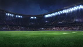 Free Modern Football Stadium Illuminated By Floodlights And Empty Green Grass Royalty Free Stock Images - 139174559