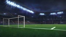 Free Modern Football Stadium Illuminated By Spotlights And Empty Green Grass Royalty Free Stock Photos - 139174558