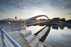 Modern footbridge in Krakow, Poland royalty free stock photo