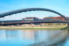 Modern footbridge, Krakow, Poland Royalty Free Stock Image