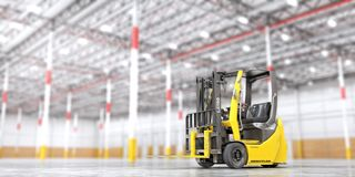 Modern forklift on a blurred warehouse background. 3d royalty free illustration