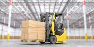 Modern forklift with cardboard boxes on a blurred warehouse background. 3d. Illustration stock illustration