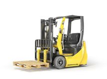 Modern forklift with empty pallet on a white background. 3d royalty free illustration