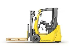 Modern forklift with empty pallet on a white background. 3D stock illustration