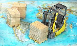 Modern forklift hold pallet with cardboard boxes wrapped in film on a blurred map. vector illustration