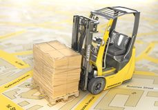 Modern forklift hold pallet with cardboard boxes wrapped in film on a blurred map. 3d royalty free illustration