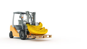 Modern forklift truck with banana Royalty Free Stock Image