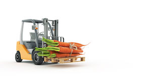 Modern forklift truck with carrots Stock Images
