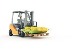Modern forklift truck with corn Stock Photos