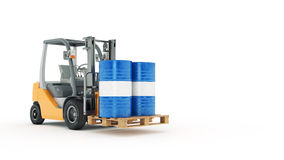 Modern forklift truck with metal barrel Royalty Free Stock Photography