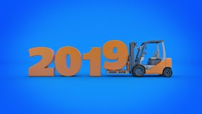 Modern forklift truck, 2019 New Year sign. 3d rendering. Modern forklift truck, 2019 New Year sign. 3d rendering vector illustration