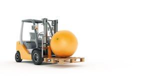 Modern forklift truck with orange Stock Photos